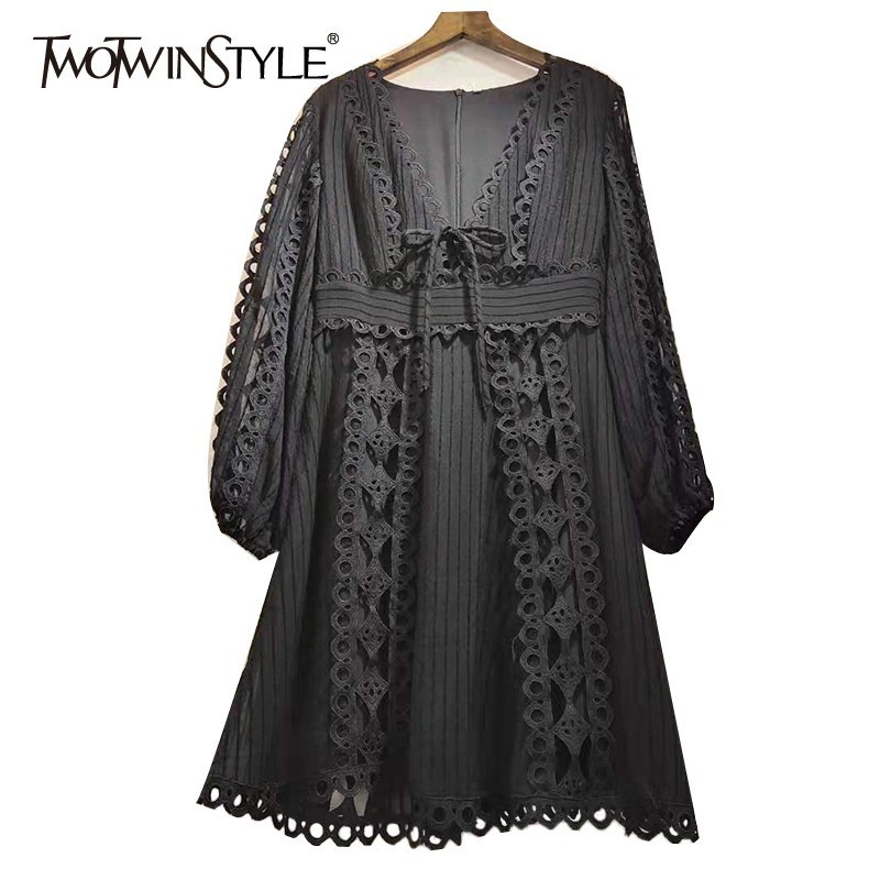 TWOTWINSTYLE Elegant Patchwork Sexy Dress Women High Waist V Neck Hollow Out Long Sleeve Mini Dresses
