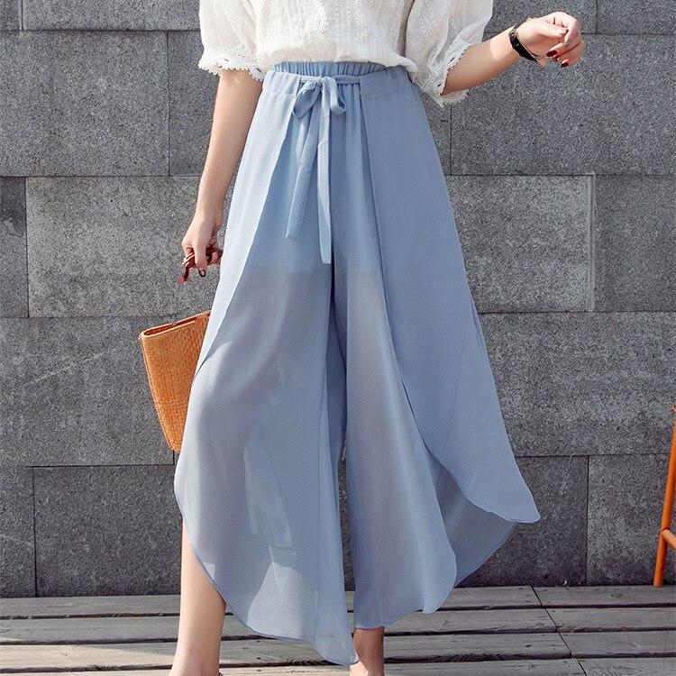 2019 Summer Women Wide Leg   Pants   Bow Chiffon Elastic High Waist Ruffle Boho Beach   Pants   Loose Casual Trousers