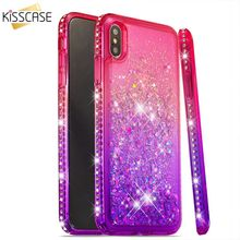 KISSCASE Glitter Diamond-Studded Phone Case For iPhone X XR XS MAX 5 5s SE 6 6s 7 8 Plus Smooth Bling Luxury Coque Cover Cases