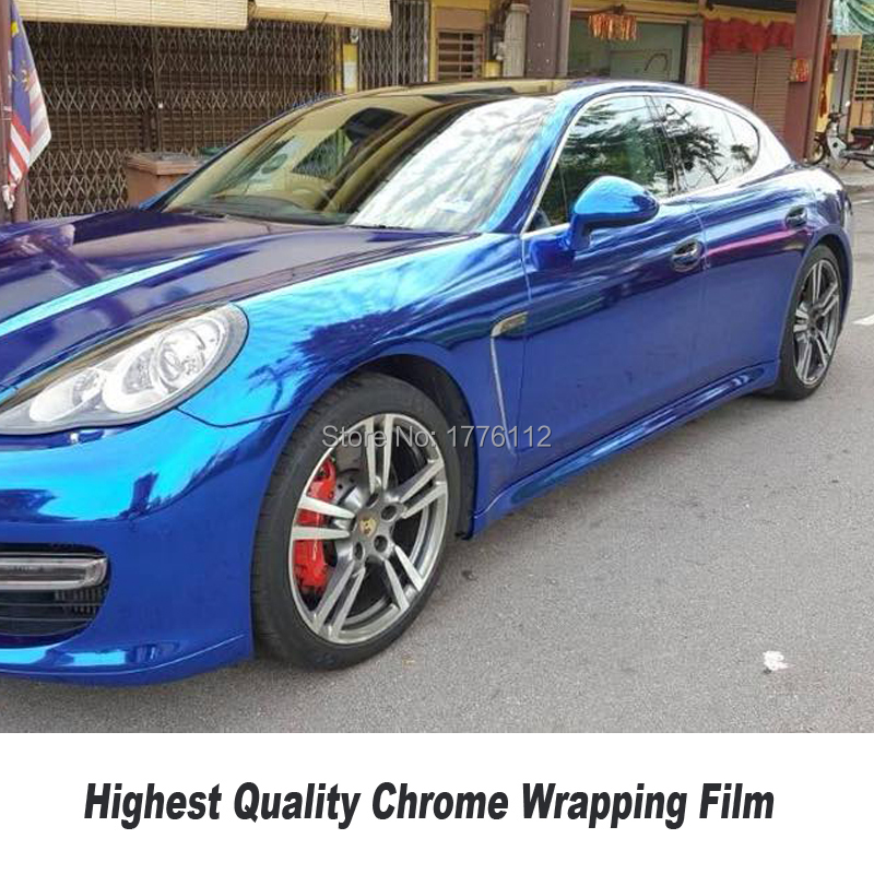 Autocollant bleu foncé de rouleau de vinyle de CHROME foncé feuille de vinyle bleu bulle d'air libre pour l'emballage de voiture 5ft X 65ft/Roll n'importe quelle taille