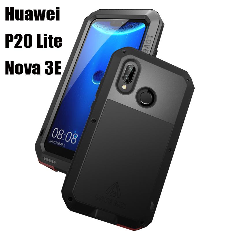 Huawei P 20 Lite Waterproof Case Hard Shockproof Aluminum Metal Cover for Huawei P20Lite Nova3E ANE LX1 LX3 Full Cover Protector