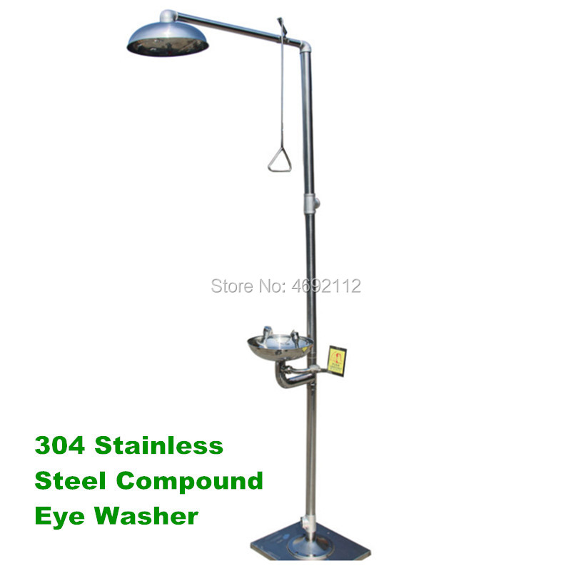 Meilleur prix 304 acier inoxydable composé oeil rondelle d'urgence pulvérisation verticale douche douche oeil machine à laver