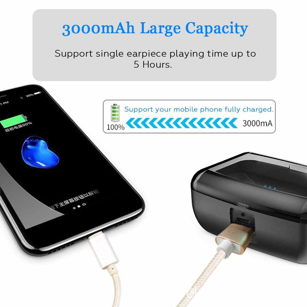 Bluetooth 5,0 Ture Беспроводной наушники мини TWS наушники-вкладыши беспроводные bluetooth TWS стерео IPX8 Спортивная Подводная гарнитура 3000 мАч зарядным устройством
