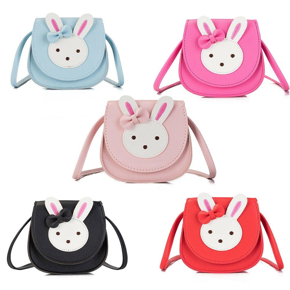 2019 New Kids Cartoon Rabbit Mini Messenger Bag Baby Girls PU Leather Purse Coin Shoulder Crossbody Bags Accesorries