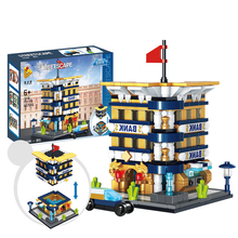 Compatible legoingly City Architecture Building Mini Street View Citibank Blocks Bricks Educational Toys For Children Gift