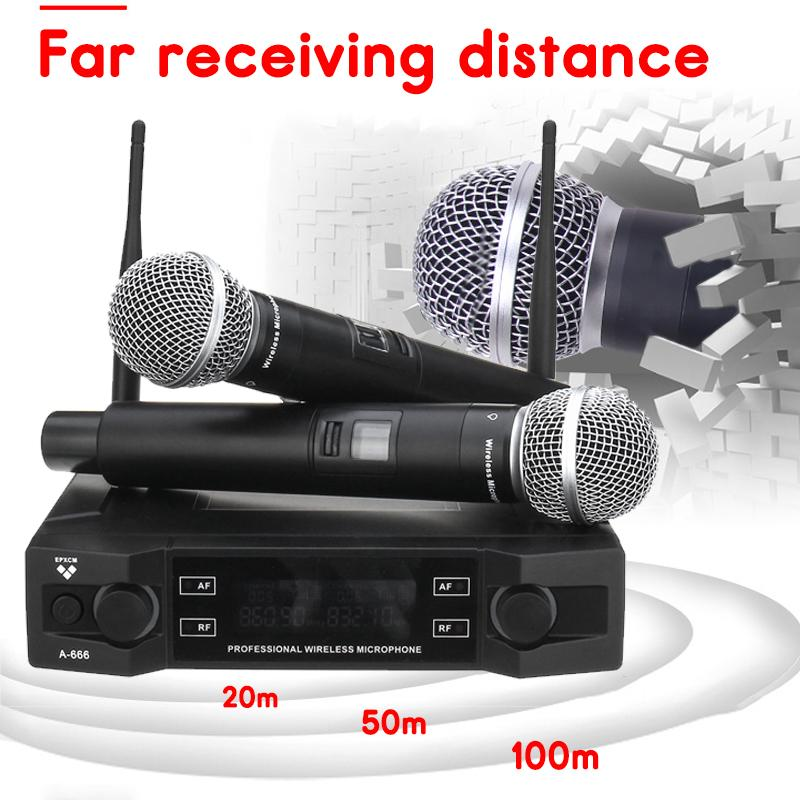 2 Channel UHF Wireless Microphone System 2 Cordless Handheld Mic Kraoke Speech Party Supplies Cardioid Microphone Professional