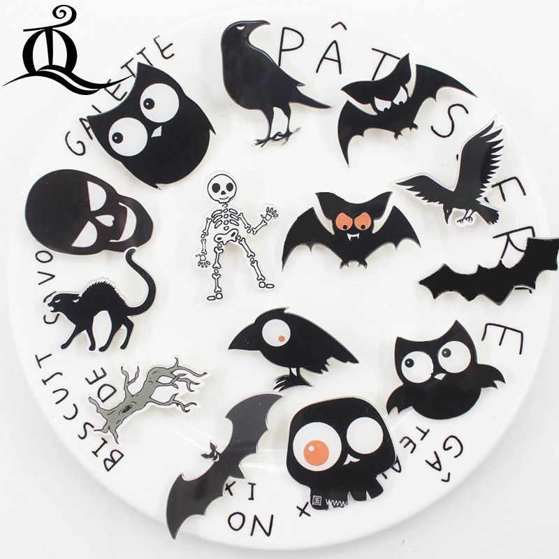 Campuran Panas 1 Pcs Halloween Hitam Kartun Bros Ikon Di Ransel Akrilik Lencana Kartun Pin untuk Pakaian Dekorasi Lencana z13