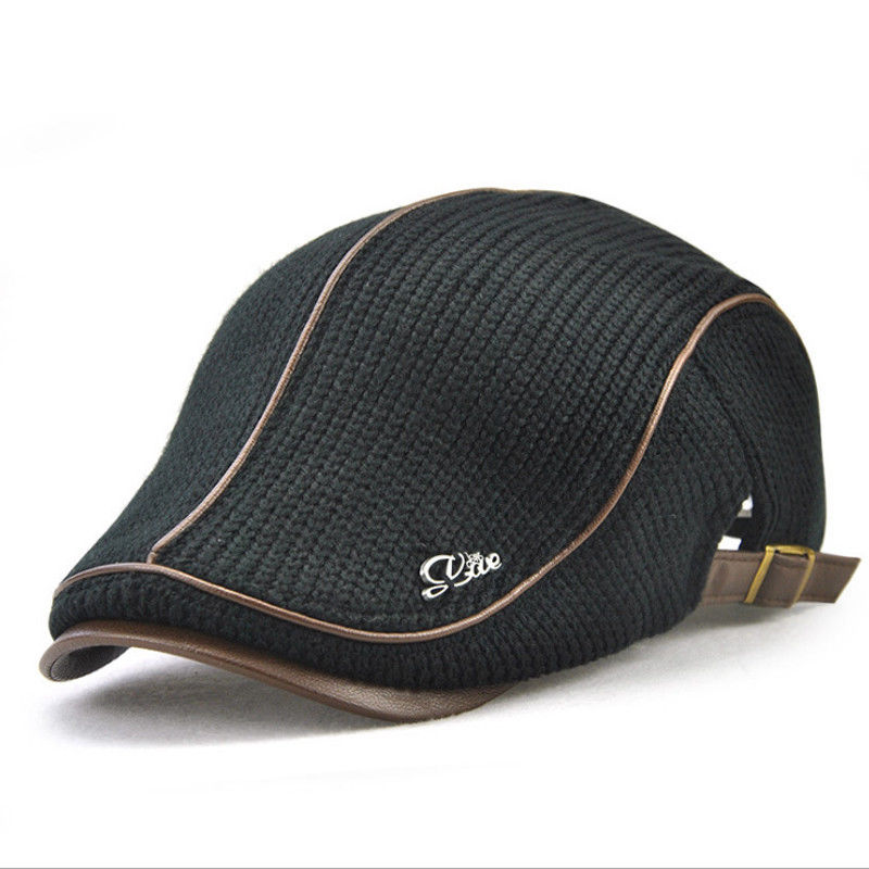 2018 New Style Fashion Solid Winter Hat Men Warm Thick Plush Cotton Autumn Knit Cap Casual Vintage Beret