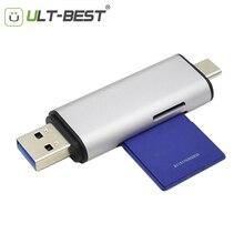Считыватель sd-карт ult-best usb type C USB 3,0 OTG адаптер для карт памяти 2 слота для TF, SD, Micro SD, SDXC, SDHC, MMC, RS-MMC