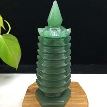 Natural Dongling jade carving nine-story Tower Helping the career Fortune development Opening feng shui Crystal tower decoration