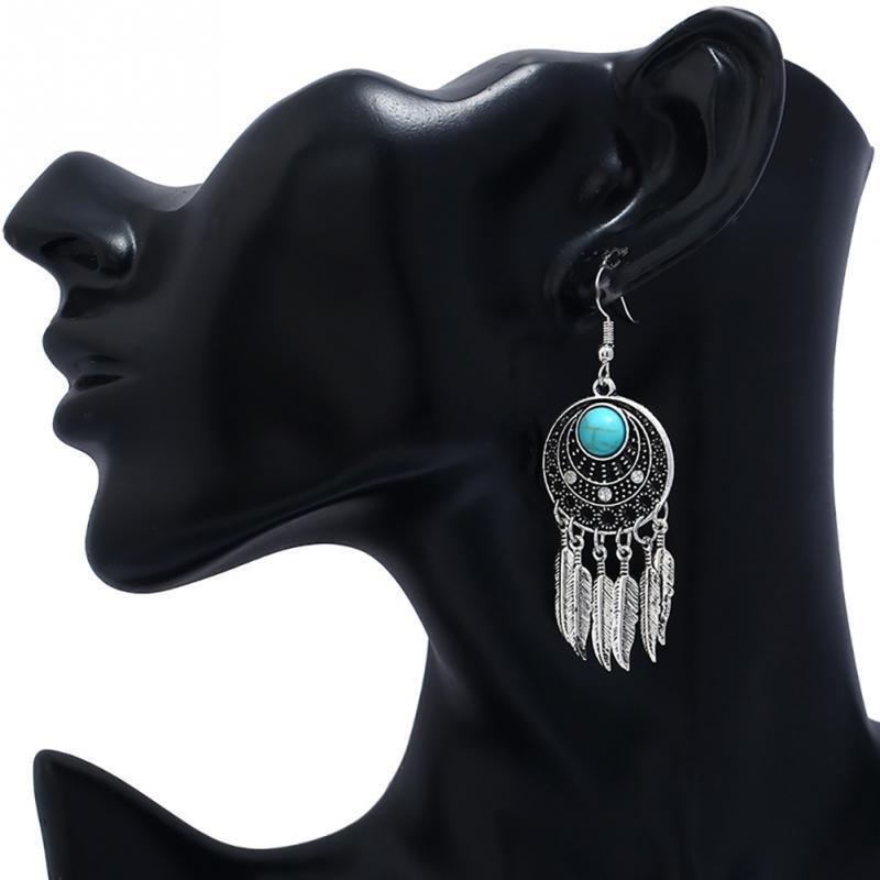 Retro Turquoise Drop Earrings with Leaves Shape Tassel Ear Pendants Dangler