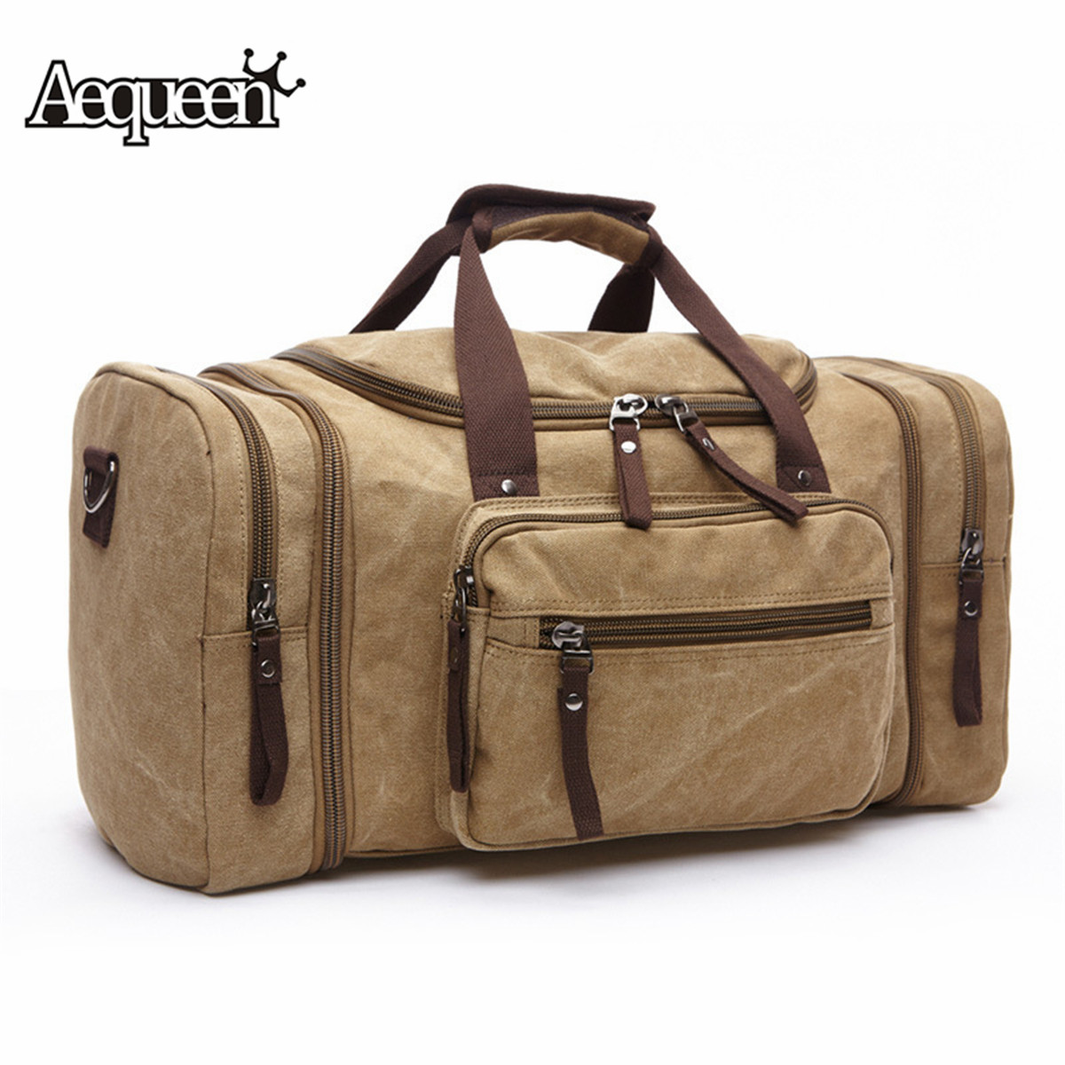 AEQUEEN Soft Canvas Men Travel Bags Carry On Luggage Bags Men Duffel Bag Travel Tote Large Weekend Bag Overnight High Capacity