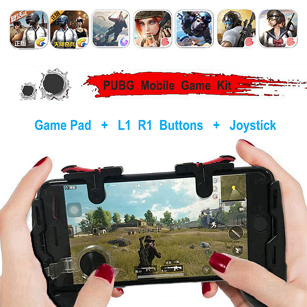 Mobile Game Part 4 in 1 PUBG Moible Controller Gamepad Free Fire L1 R1 Triggers PUGB Grip L1R1 Joystick for iPhone Android Phone(China)