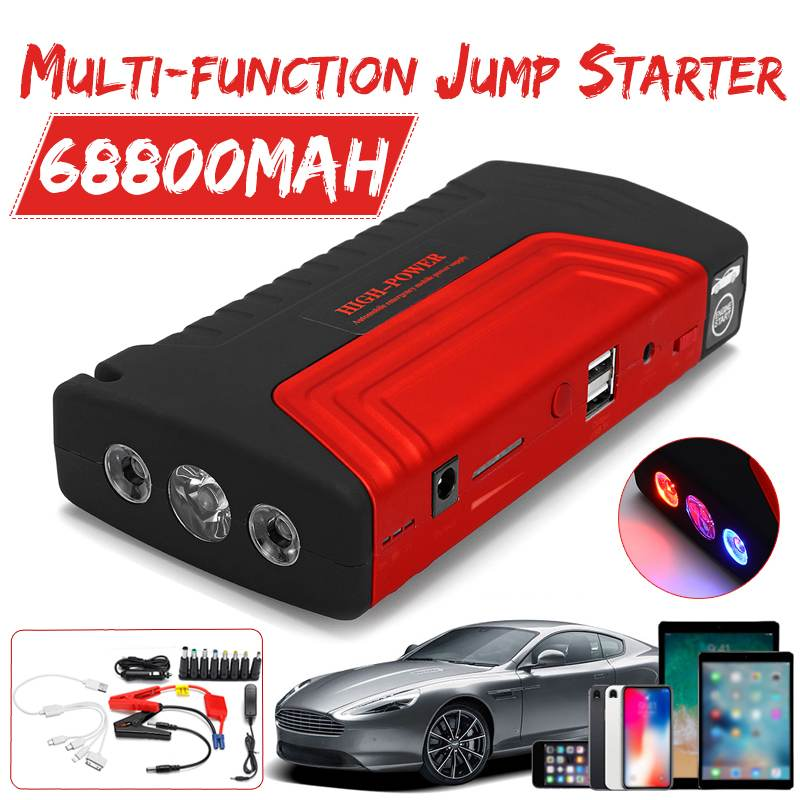Multi function 68800mAh 12V 600A Portable Security Jump Starter USB  Power Bank Car Battery Booster Charger Starting Device Jump Starter     - title=