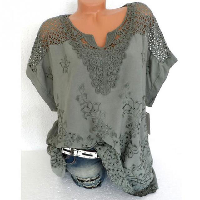 Women Blouse Plus Size XL-5XL Bat's wing sleeved V neck Tops shirt Fashion Lace Edge vestidos casual shirts 5
