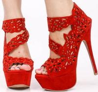 Sexy Platform Lady Shoes with Hollow Flower High Ankle Band in Zipper Heels Woman Shoes Fashion Size 34,43 PU Leather