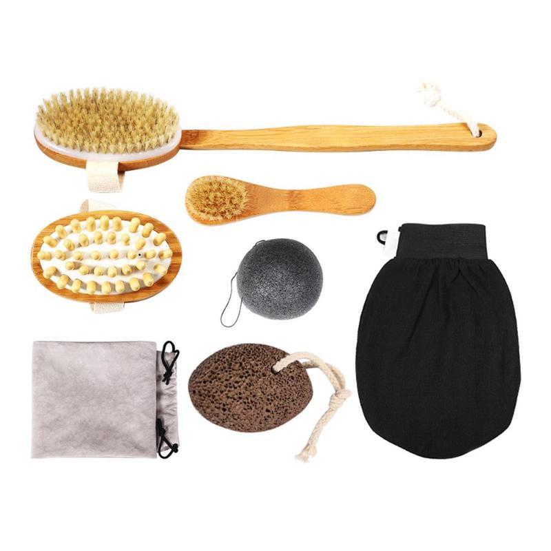 7pcs/set Long Handle Bristle Bath Body Brushes Exfoliating Face Cleaning Puff Skin Care Tools Kit Bath Tool Set
