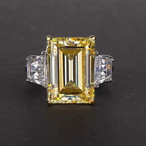 Image 2 - PANSYSEN Elegant lady 10x14mm Citrine Emerald Rings for Women 100% Genuine Sterling Silver 925 Jewelry Ring 6 Colors Size 4 12