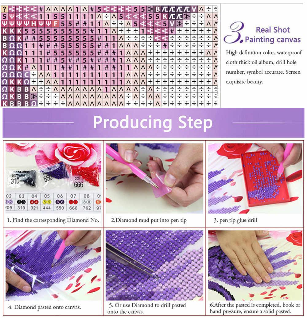 Diamond Lukisan 5D DIY Kit Penuh, Cross Stitch, Persegi Mosaik Diamond Bulat, buah Diamond Bordir