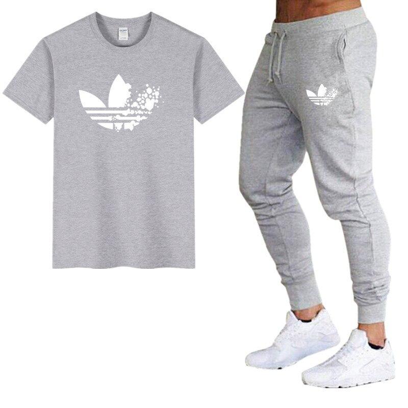 New Brand Men Sets T Shirt Mens Cotton T Shirts+pants Summer Skateboard Casual Sets Boy Skate Tracksuit Gyms Fitness Sets