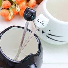 Харадзюку, прочные ложки с изображением мороженого из мультфильма, черно-белые ложки в виде кошачьей головы, для малышей, детей, для кормления, кофе, из нержавеющей стали, милая чайная ложка