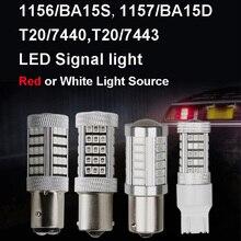 цена на 2pcs 1156 1157 BAY15D 33 LED 2835 SMD P21/5W 2057 7528 Car Tail Led Bulbs Brake Lights lashing strobe white red
