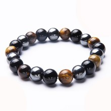 Black Hematite Stone Bracelets Natural Crystal Obsidian Tiger Eye Strand Beaded Stretch Bracelets For Men Women Jewelry bohemian natural stone gravel bracelets for women 2019 new elastic bracelets jewelry tiger eye opal redstone nuggets bracelets