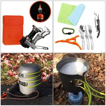 New Outdoor Camping Hiking Tableware Aluminium Alloy Cookware Cooking Picnic Traveling Bowl Pot Pan Set for 1-2 person image