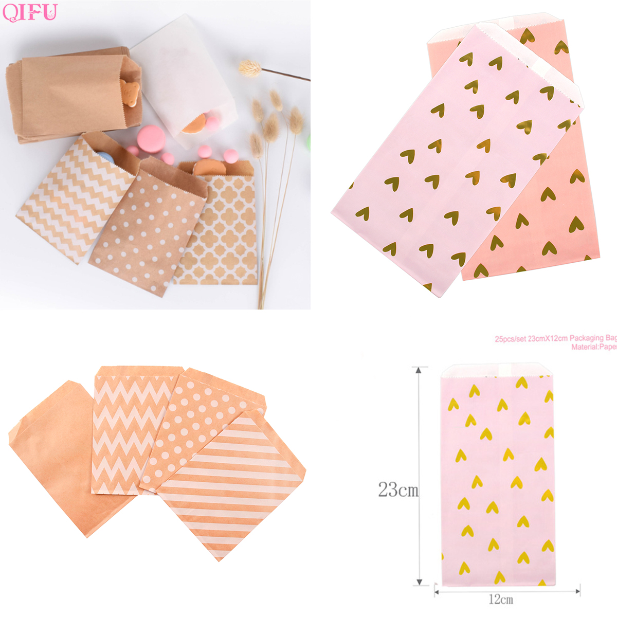 Kraft Paper Bags Gift Bag Candy Box Popcorn Box Goodie Bags Cookie Printed Paper Treat Bags Paper Christmas Box Packaging Sweets