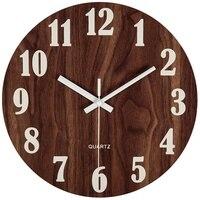 12 дюймов ночной Светильник Функция деревянные настенные часы Винтаж загородный тосканской Стиль для Кухня офис Домашний бесшумный & Non-идет