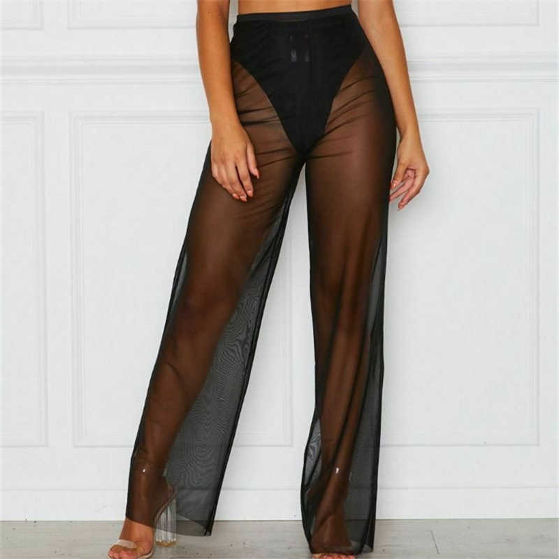 Pantalones Transparentes De Malla Para Mujer Pantalon De Cintura Alta Pierna Ancha Para Playa Y Vacaciones Pantalones Y Pantalones Capri Aliexpress