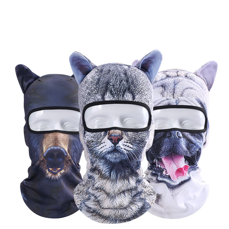 Men Women Full Face Mask Hood Cover Neck Scarf Fashion Dust-proof Animal Pattern Headgear With Ear Cat Dog Lion Balaclava Hats