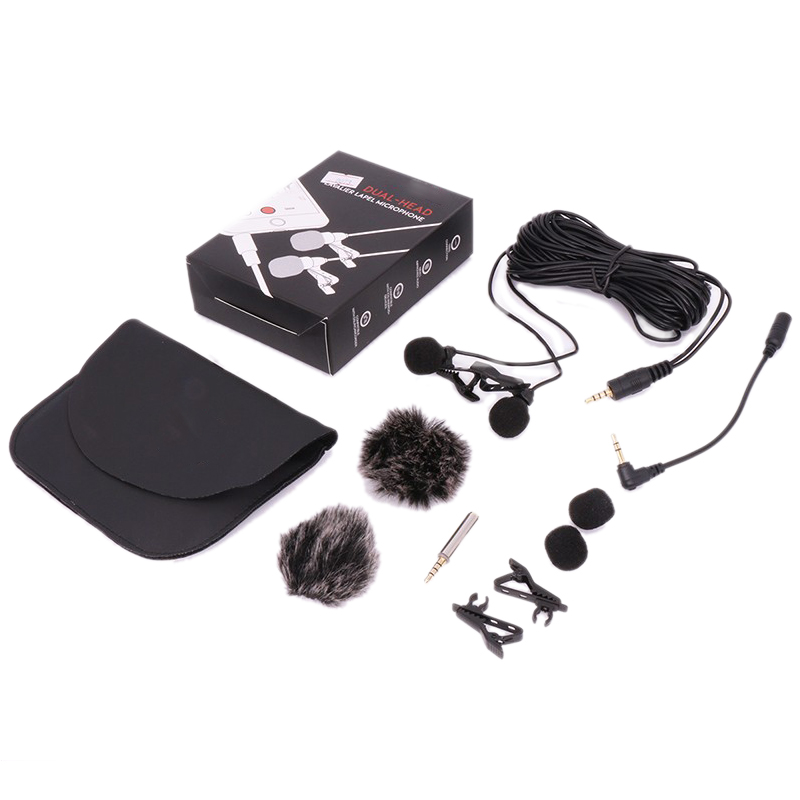 6m Dual-Head Lavalier Lapel Clip-On Microphone For Lecture Or Interview For Smartphone Mobile Phone And Tablets