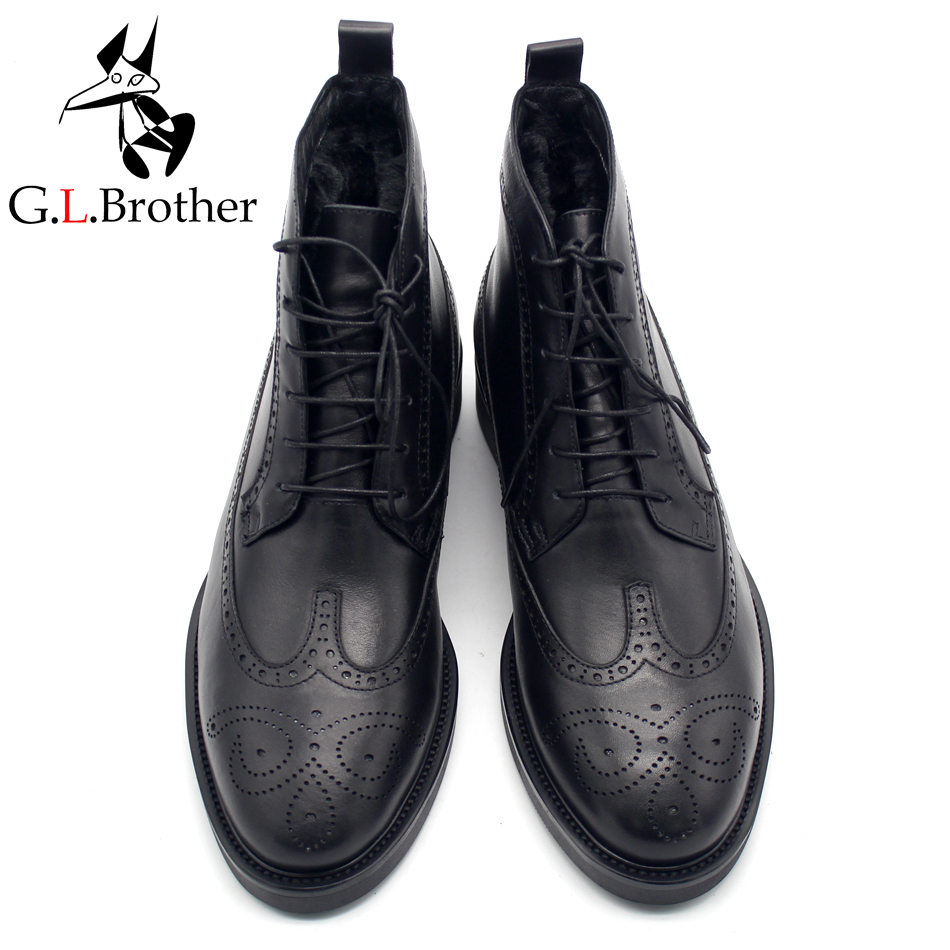 Newest Classic Bullock Carved Handmade Full Grain Leather Ankle Boots British Style Black Round Toe Top Quality Boots ankle strap heels wrap full grain leather t low cut uppers british style high quality round toe single shoes with thick soles