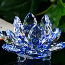 3D Lotus Crystal Glass Figure Paperweight Ornament Feng Shui Decor Collection Vintage Home Decoration Accessories Gift With Box цены