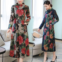 2018 Women Casual Long Sleeve Dress Autumn Winter Fashion Vintage Floral Printed Turtleneck Party Dresses Vestidos