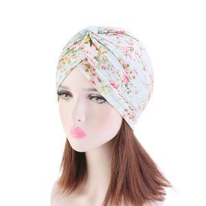 Image 3 - インドターバンイスラム教徒女性の花プリント帽子がん化学及血キャップイスラム脱毛カバービーニーボンネットのヘッドスカーフプリーツキャップ帽子