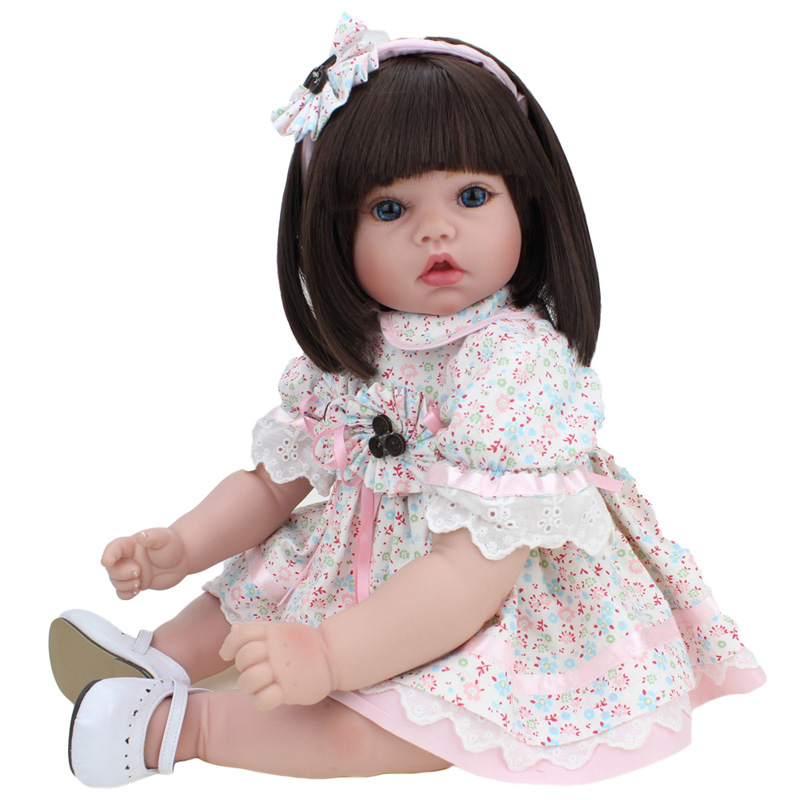 Baby Reborn Doll Silicone Collectible 20 Inch Baby Face Toys For Children Blue Eyes Toddler Girls