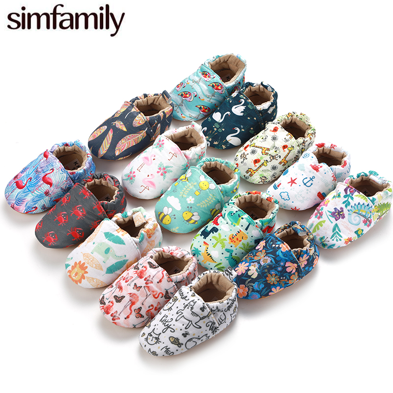 [simfamily]Kid Girls Boy Baby Shoes Newborns First Walkers Soft Infant Toddler Shoes Cute Flower Soles Crib Shoes Cotton Fabric