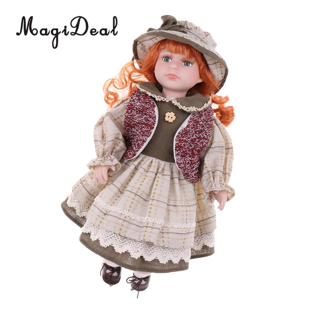 40cm Vintage Porcelain Curly Girl Doll People Figures With Beige Dress Hat цены