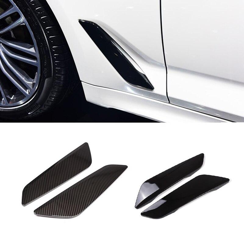 Image 2 - Для BMW 5 серии G30 2018 2 шт. глянцевый черный автомобиль боковое крыло воздушный поток крыло решетка выход Впускное отверстие крышка-in Лепнина для интерьера from Автомобили и мотоциклы