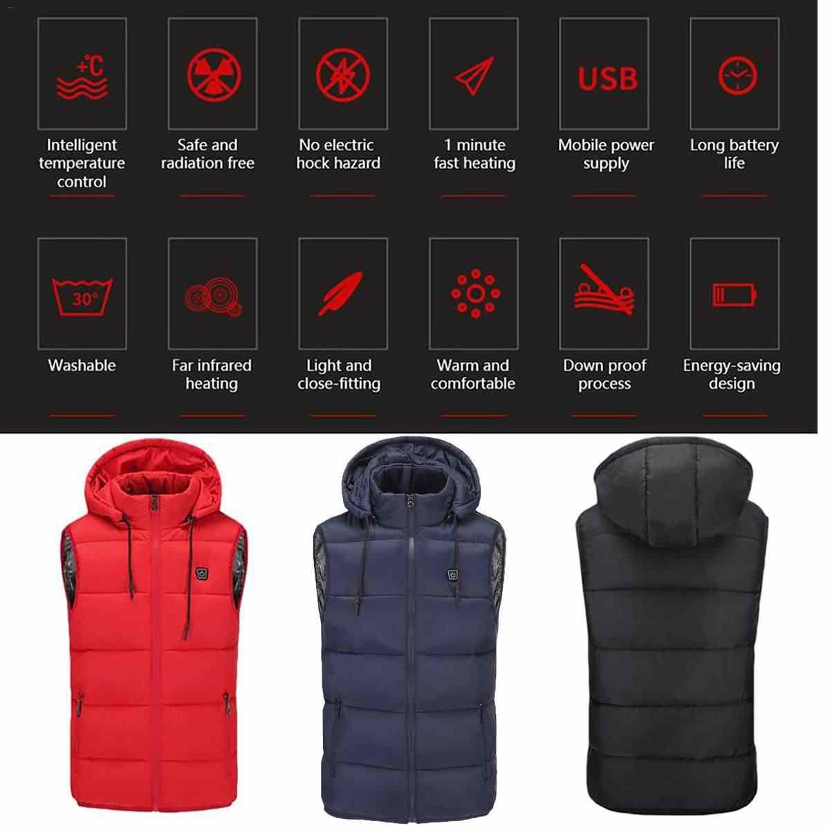 2018 neue Unisex Thermische Farben 5 V USB Heizung Elektrische Beheizte Weste Winter Warm Mit Kapuze Jacke Hut Kleidung Temp Control weste