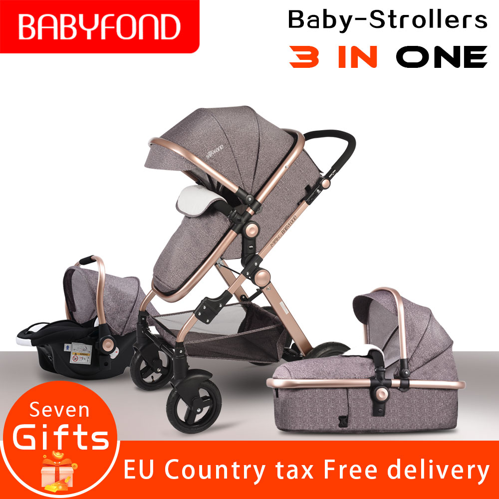 CE estándar de 3 en 1 Cochecitos de bebé dormir y recién nacido bebé 0 ~ 36 meses bebé oro marco HJBB