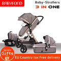Europa 3 in 1 kinderwagen und schlaf korb neugeborenen baby wagen 0 ~ 36 monate baby pram gold rahmen marke kinderwagen