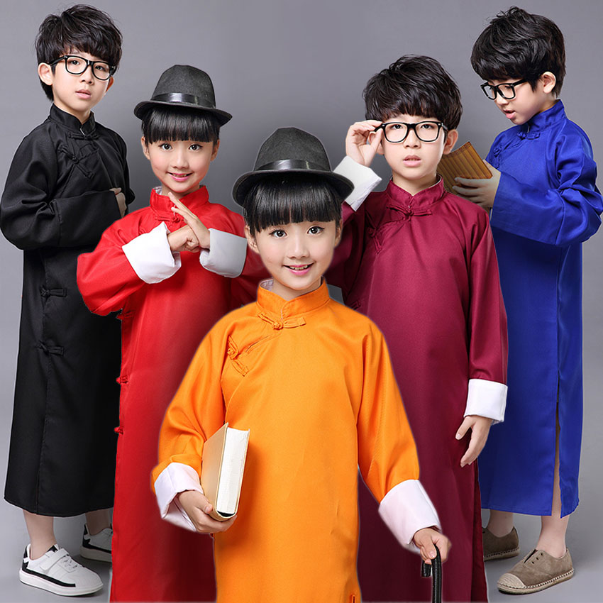 100-185cm Chinese Traditional Costumes Crosstalk Gown Man Long Style Tang Suit Hanfu for Kids Boys Stage Wear Performance