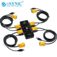 eSYNiC 4 Port USB 2.0 KVM Switch Box With 4 KVM Cables For Keyboard Mouse Monitor VGA PC Laptop Adapter Switch Switcher