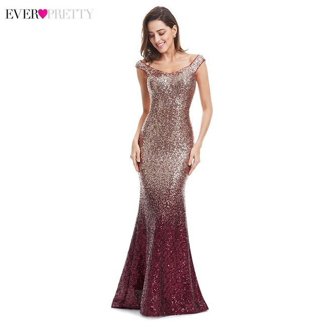 Sexy Prom Dresses Ever Pretty V-Neck Mermaid Sleeveless Sequined Spaghetti Strap EB29998 Gowns for Party Vestidos de Gala 2020 5