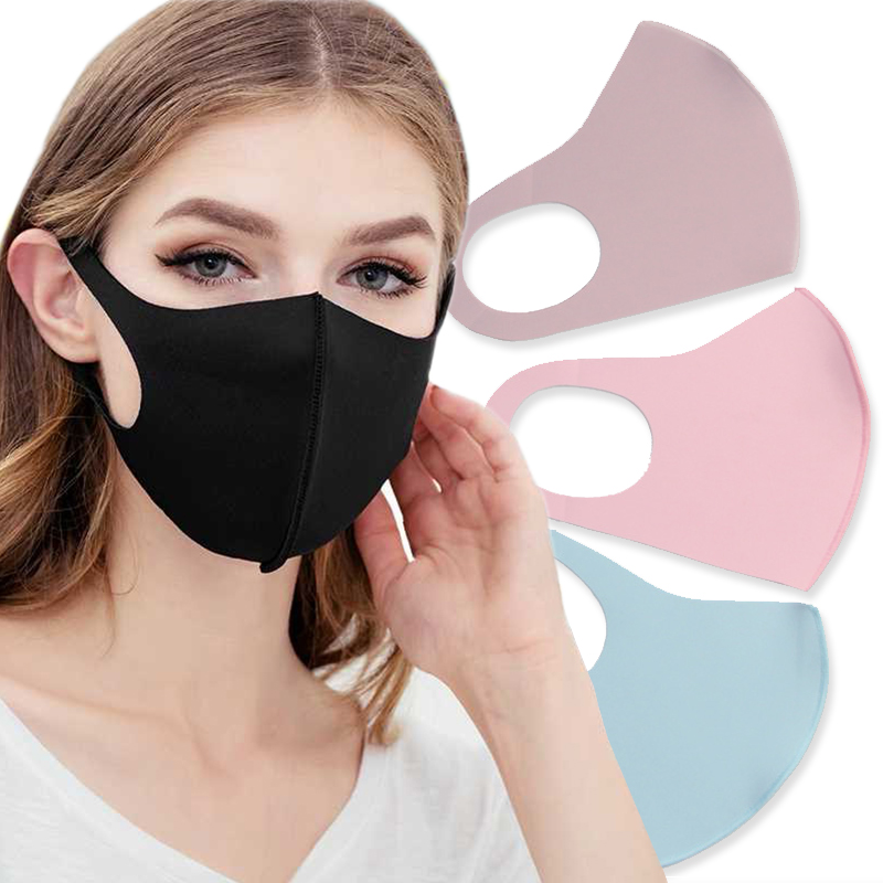 Hot Popular 1pc Summer Sun Block Ice Silk Respirator Unisex Breathable Anti-dust Anti-smog Mask 3D Solid Washable Mouth-muffle