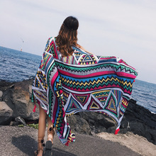 LEAYH Stylish Style Geometric Pattern Large Scarf Female Cotton Air Conditioning Room Shawls Sea Sunscreen Scarves Head Wraps