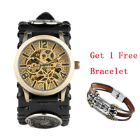 Bronze Vintage Skeleton Watch Automatic Timepiece Mechanical Watches Wolf Design Punk Leather Watch Strap Transparent Man Clock